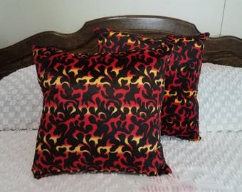 Faux Fur Handmade Red and Black Flame Print Pillows Set of 2 - 15 X 15 Home Decor Den, Living Room, Bed Room, Man Cave,  Ready to Ship