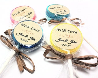 """12 LOLLIPOPS with PERSONALIZED KRAFT Labels and Raffia Ribbon,Wedding Favors, Bridal Showers,50+ Flavors to Choose From,""""With Love Labels"""""""
