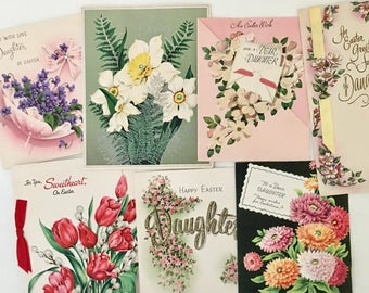 Vintage Lot Used Easter Cards, Eight Floral Easter Greeting Cards, Colorful Spring Flowers Pastel Craft Supplies, Daffodils, Tulips, Zinnias
