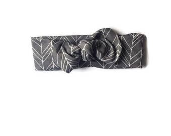 Organic baby knotted headband- gray herringbone