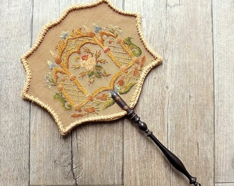 Antique French Napoleon III face screen, fire screen, hand embroidered