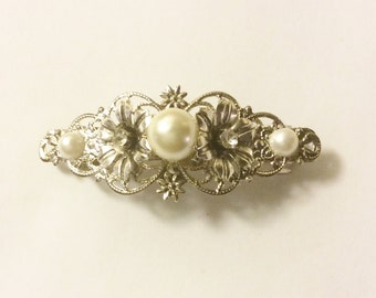 Silver pearl wedding barrette bridal hair clip flower pearl hair clip fancy barrette ivory pearl pearl floral barrette filigree hair clip