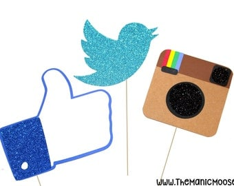 Photo Booth Props ~ Social Media Props ~ Set of 3 ~ GLITTER Photobooth Props ~ Great for weddings, birthdays, parties