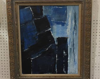 SOLD Blue Abstract Mid Century Inspired Painting