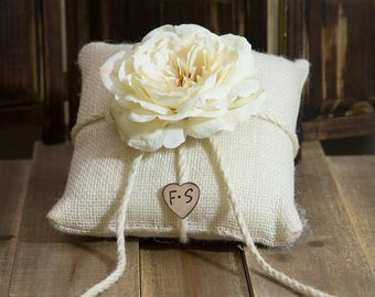 Burlap ring bearer pillow decorated with a vanilla sophia rose personalized with bride and groom initials other flowers to select from