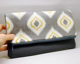 Foldover zipper clutch, zipper pouch, wedding purse, evening clutch, bridesmaid gifts set -  Candle light (Ref. FZ17)