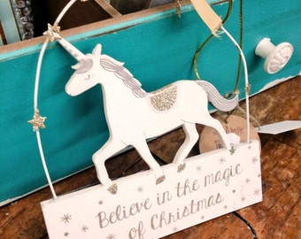 Magical Christmas Unicorn plaque