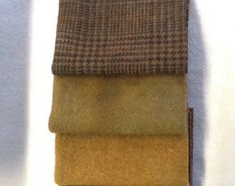 Wool Bundle B Shades of Brown Hand Dyed Felted Wool