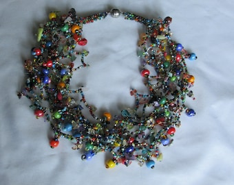 GORGEOUS Huge Multi Strand Glass Beaded Necklace choker, Multi Color, Stones, glass, beads, twist strand,