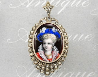 SALE! Antique Locket Limoges Enamel 800 Silver Seed Pearl Portrait Pendant