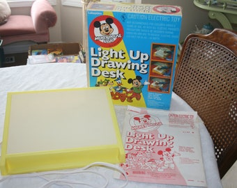 Vintage Disney Mickey Mouse Club Light Up Drawing Desk By Lakeside Games