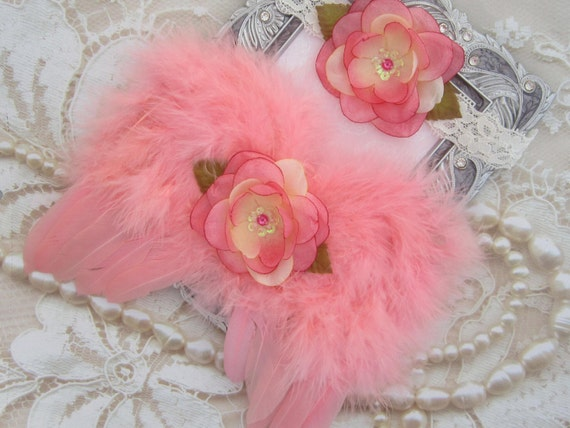 Coral Angel Baby Wings and/or Matching Lace Headband, for a teenie infant, photo shoot, baby photo, by Lil Miss Sweet Pea