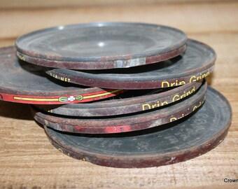 Coffee Can Lids - Old Metal Lids - Supplies - Crafting - Metal - Vintage - Set of Six