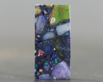 Welo Opal Cabochon Mosaic with Brilliant Flash & Opalescence - Stabilized, Colorful Gemstone from Ethiopia (CA8409)