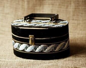 Super Cute Vintage Black Velvet / Blue / Gold Thread Ribbon Purse Handbag