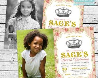 Vintage Royal Princess Photo Invitation PLUS Matching Thank You Notes