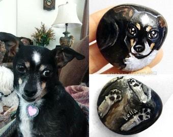 Custom Pet Portrait, Hand Painted Rock Art, Pet Stone Keepsake, Dog Painting, Cat Loaf, Pet Memorial, Pet Loss, Gift for Animal Lovers