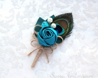 Teal Peacock Rosette Boutonniere/ Wedding Lapel Pin/ Handmade Wedding Accessory