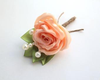Peach Rose Boutonniere/ Wedding Lapel Pin/ Handmade Rustic Wedding Accessory