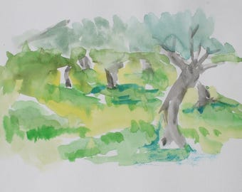 Watercolor painting of Olive Trees