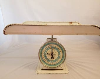 Vintage Baby Scale Hanson Nursery Blue Photo Prop Weigher with Tray
