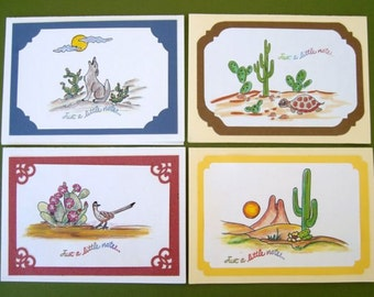 Note cards, blank note cards, Southwestern note cards, set of 4 cards