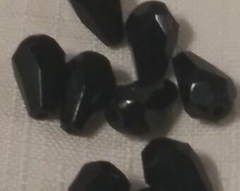 FaCeteD TEARDROPS 7x9mm CZECH Glass (10) jet black