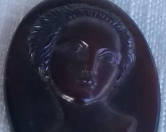 Vintage GLASS cabochon LADY Art Nouveau 1920s Antique cameo stone 20X30mm (1)