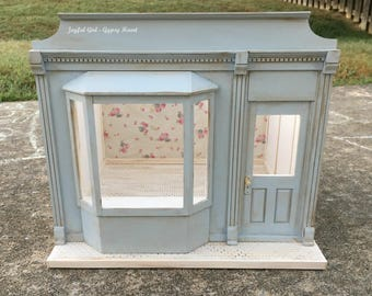 1:12 Shabby Chic Little Blue Bay Window Dollhouse Miniature Roombox French Shop Shoppe