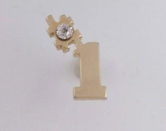 10k Gold Diamond Tie Tack #1 You're Number One Gold Diamond Gemstone Tie Tack Lapel Pin Men's Jewelry Gift Idea