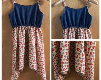 4th of July Boho/Hippie Gypsy Style Cotton and Denim  Sundress, girls size 8
