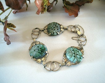 Carved Jade Cabochons Set  In A  Decorative Gold Filled Bracelet - 1950's - 7 Inches Long