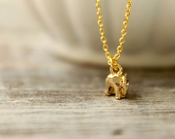 Itty Bitty Elephant Necklace in Gold