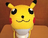 SALE Crochet Pikachu Hat, Earflaps, Adult, Teen, Child Sizes, Pokemon, Nerdy Gift, Gamer Gift, Ready To Ship