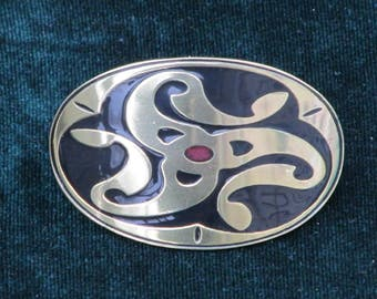 Celtic Jewelry - Handmade Brass Barrette Style Hair Tie with Celtic Swish Etched in Brass with Black and Red Enamel - Medium Sized - RTS