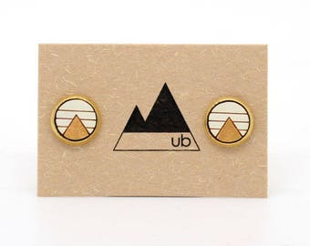 Frank - Brass Stud with Wood Inlay