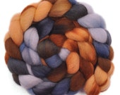 Hand Dyed roving - Cheviot wool spinning fiber - 4.1 ounces - Thief of Time 2