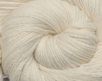 Handspun yarn - Natural Color Merino wool, Fine Sport weight - 605 yards - Natural White 1