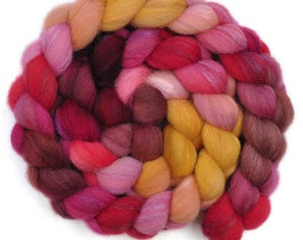 Hand painted combed top roving - Silk / Shetland wool 30/70% spinning fiber - 4.0 ounces - Apple Pressing 2
