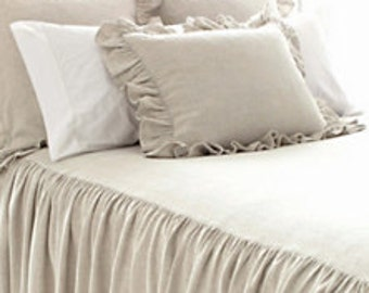 """Linen Gathered  Bed Cover  Queen Set  60"""" x 80"""" x 30"""" Drop - Made To Order"""