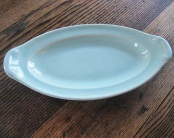 """LuRay Pastel Pale Green Oval Serving Dish 9.5"""" TS&T Pastels 1942"""
