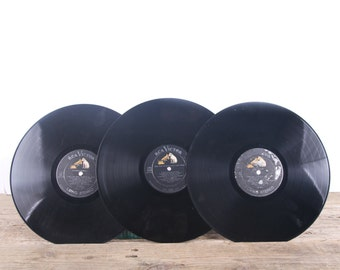 3 Vintage 33 1/3 Records / Black Vinyl Records / Antique Vinyl Records Decorations / Old Records / RCA Victor / Retro Music Party Decor