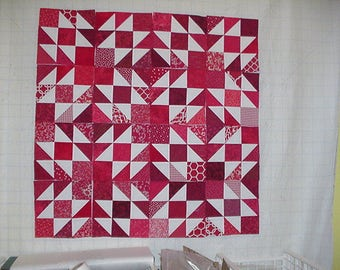 Set of 16 nine inch Red and white Quilt blocks squares