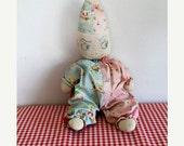 40% off SALE vintage 1920-30s CLOWN handmade feedsack doll