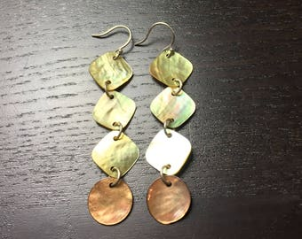 Sandy Shores Champagne and Brown River Shell Earrings