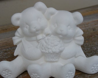 Ceramic Bisque Springtime Cuddle Bears