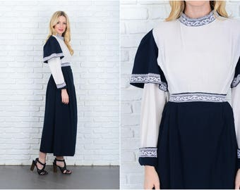 Vintage 70s Black White Mod Dress Avant Garde Lace Ribbed Maxi XXS 9388