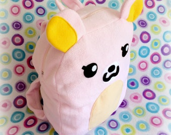 Pink Fleece Kawaii Bear Backpack by MW