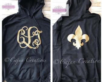 Monogram hoodie, Personalized hoodies, fleur de lis on back, custom hoodies, who dat hoodie, gifts for women, monogram clothing,glitter