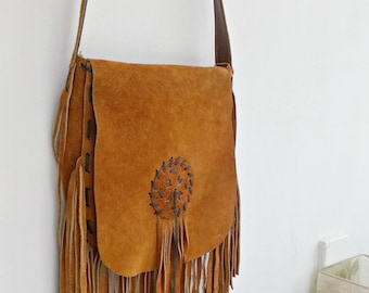 Leather Fringe Bag Vintage, Boho Crossbody Handbag, Distressed Suede Messenger Bag, Shoulder Bag 70s Style, Everyday Sling Bag Southwestern